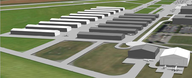 architectural rendering of new hangars at Frederick Municipal Airport